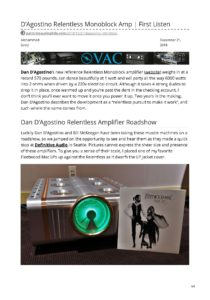 2018 - Part-time Audiophile Review - Dan Dagostino Relentless Mono Amplifier - Norman Audio