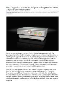 2020 - The Absolute Sound - Dan D'Agostino Progression Preamplifier & Power Amplifier