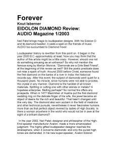 2003 - Audio Magazine Review - Avalon Eidolon - Norman Audio