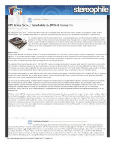 2003 - Stereophile Review - VPI Scout - Norman Audio