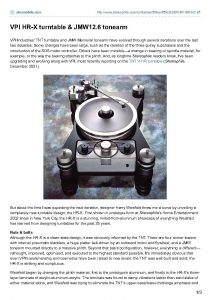 2006 - Stereophile - VPI HR-X - Norman Audio