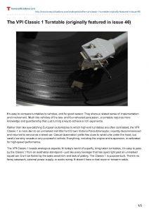 2012 - Tone Publications Review - VPI Classic - Norman Audio