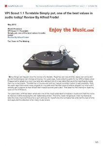 2013 - Enjoy The Music Review - VPI Scout - Norman Audio