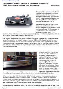 2015 - Audiophilia Review - VPI Scout Jr - Norman Audio