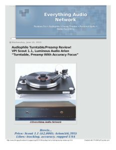 2015 - Everything Audio Network Review - VPI Scout - Norman Audio