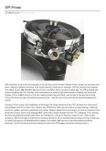 2015 - Hi-Fi Plus Review - VPI Prime - Norman Audio