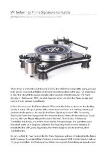 2017 - Hi-Fi Plus Review - VPI Prime Signature - Norman Audio