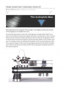 2018 - The Audiophile Man Review - VPI Prime Signature - Norman Audio