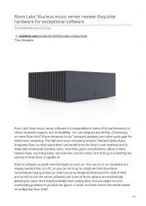 2019 - Tech Hive Review - Roon Nucleus - Norman Audio