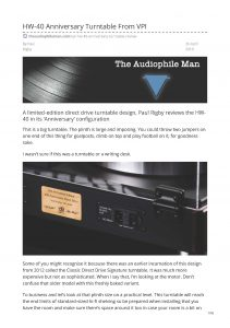 2019 - The Audiophile Man Review - VPI HW-40 - Norman Audio