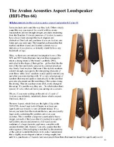 Hi-Fi Plus - Avalon Aspect - Norman Audio