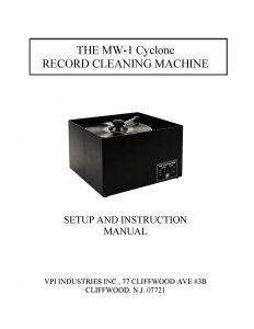 VPI MW-1 Cyclone User Manual - Norman Audio