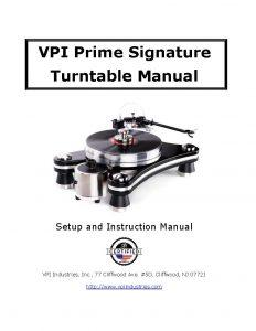 VPI Prime Signature User Manual - Norman Audio