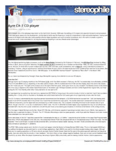2003 - Stereophile - Ayre Cx-7eMP