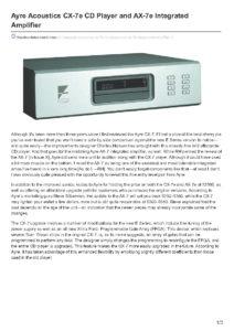 2008 - The Absolute Sound - Ayre Cx-7eMP & Ax-7e