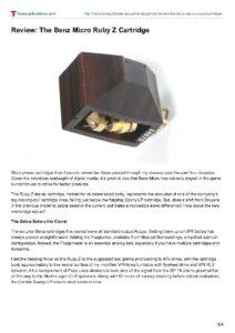 2012 - Tone Audio - Benz Micro Ruby Z