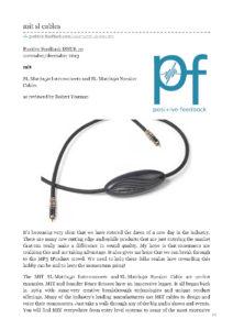 2013 - Positive Feedback - MIT Cables SL-Matrix 50 & 90