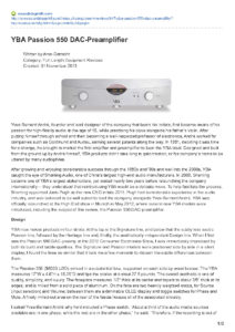 2013 - SoundStage Hi-Fi - YBA Passion PRE550A