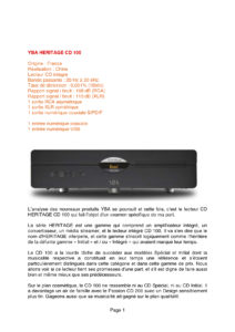 2015 - Audiophile FR - YBA Heritage CD100