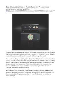 2018 - Hi-Fi Plus - Dan D'Agostino Progression Preamplifier & Power Amplifier