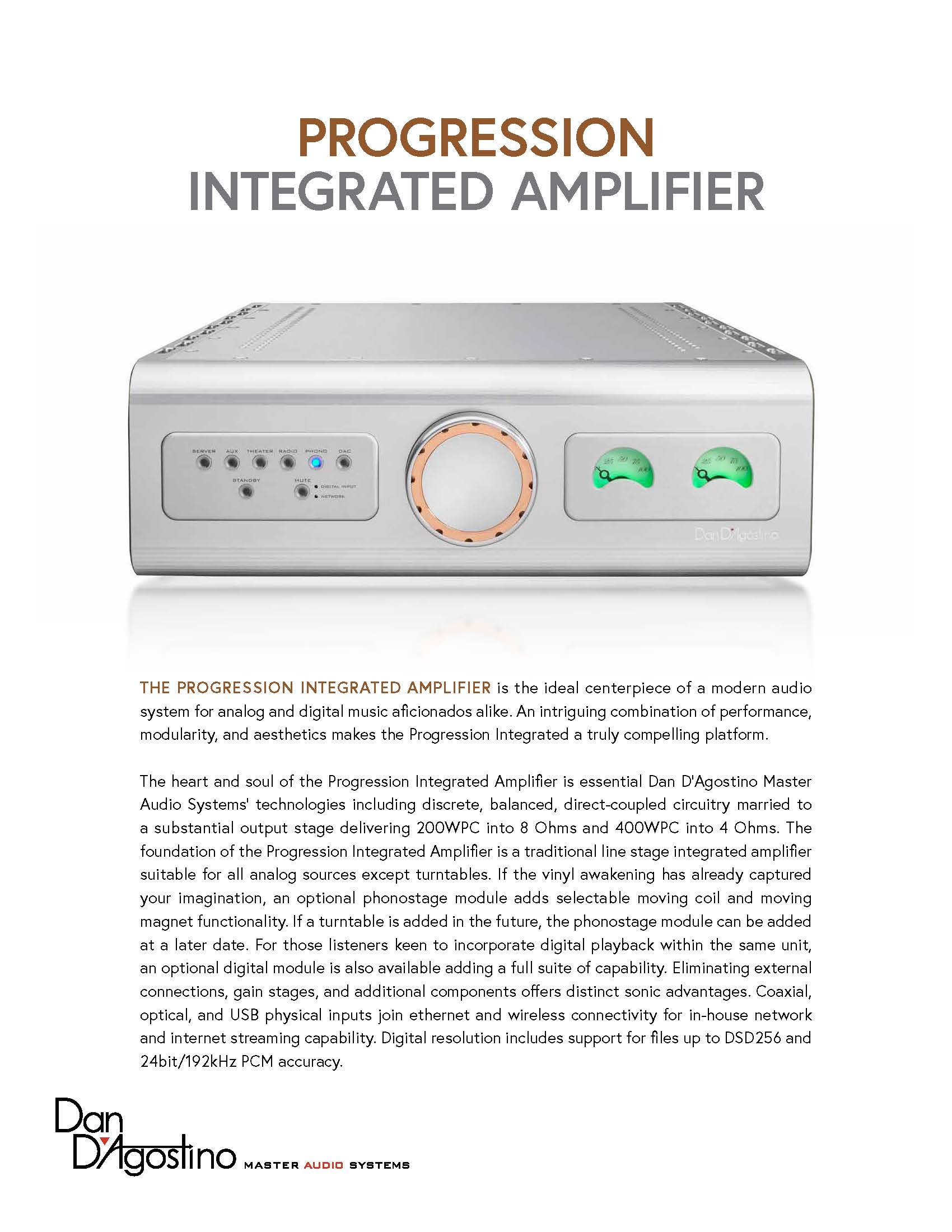 Dan D'Agostino Progression Integrated Amplifier Sell Sheet - Norman Audio