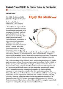 2002 - Enjoy The Music Review - Kimber Kable Tonik