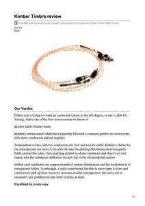 2008 - Techradar Review - Kimber Kable Timbre