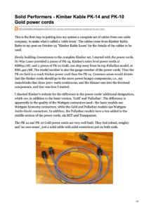 2010 - Hi-Fi Unlimited Review - Kimber Kable PK14 & PK10