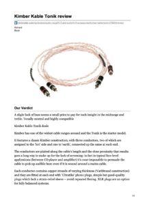 2010 - Techradar Review - Kimber Kable Tonik