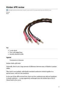 2011 - Techradar Review - Kimber Kable 4PR