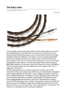 2012 - Stereophile Review - Kimber Kable 4PR