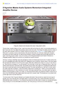 2014 - Dagogo Review - Dan D'Agostino Momentum Integrated Amplifier