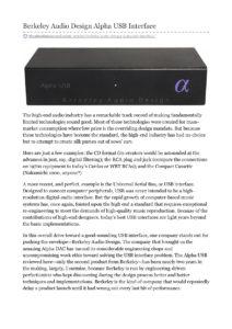 2014 - The Absolute Sound - Berkeley Audio Design Alpha USB