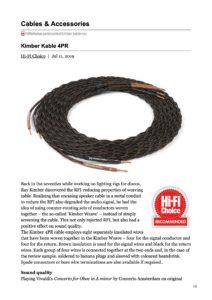2009 - Hi-Fi Choice Review - Kimber Kable 4PR