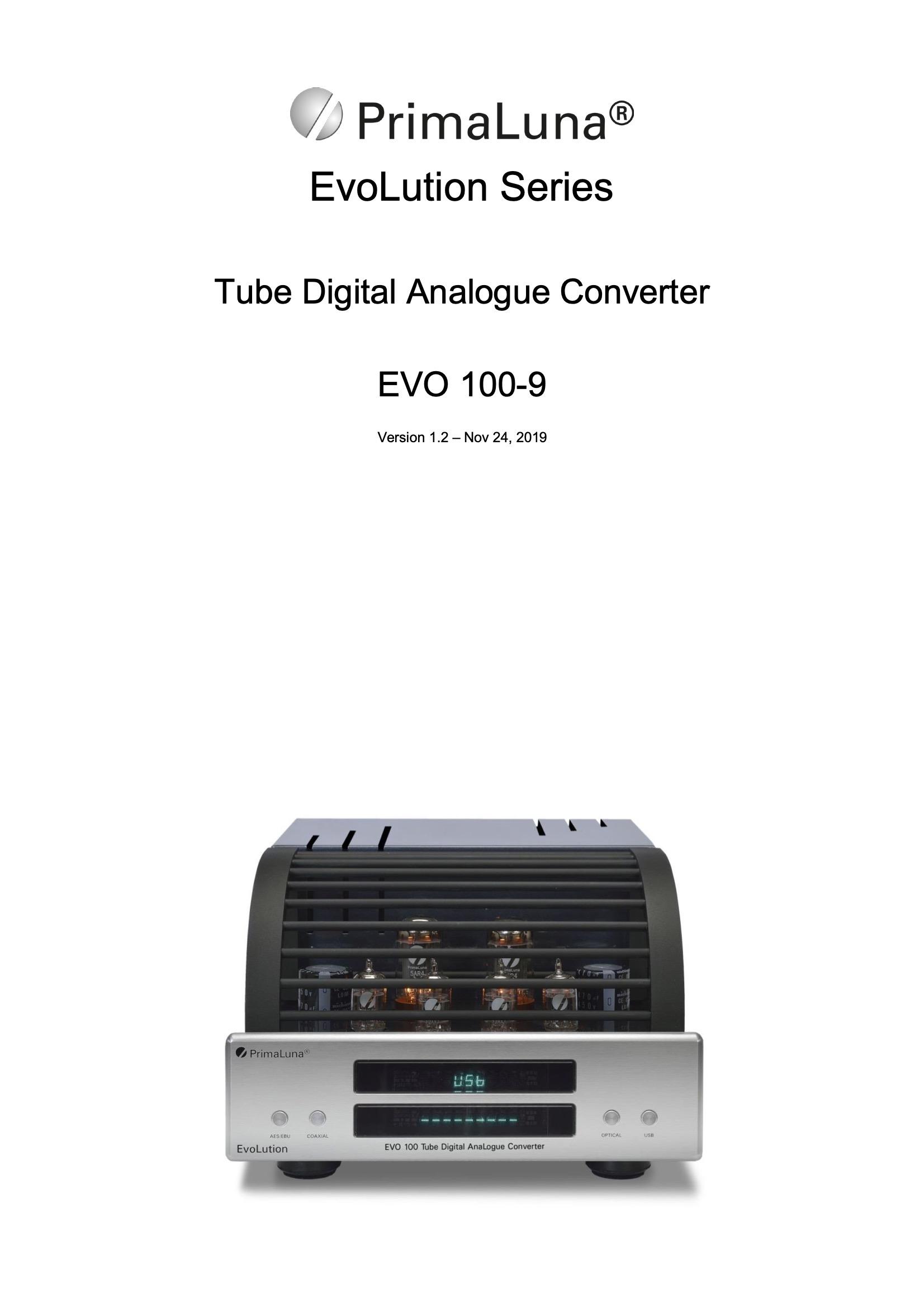 PrimaLuna EVO 100 DAC User Manual - Norman Audio
