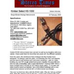 2000 - Stereo Times Review - Kimber Kable KS 1030 RCA Interconnect