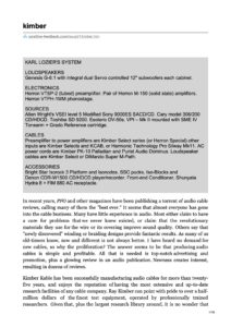 2005 - Positive Feedback Review - Kimber Kable KS 1011 & KS 1021 & KS 1030