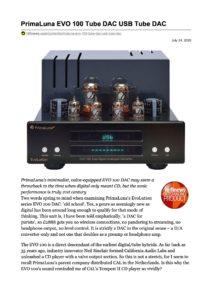 2020 - Hi-Fi News Review - PrimaLuna EVO 100 DAC