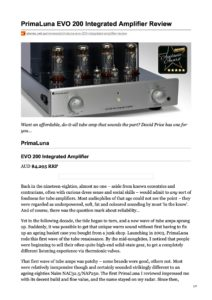 2020 - Stereonet AU Review - PrimaLuna EVO 200 Integrated Amplifier