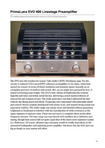 2020 - The Absolute Sound Review - PrimaLuna EVO 400 Preamplifier
