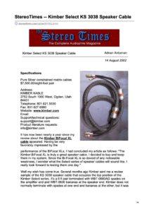 2002 - Stereo Times Review - Kimber Kable KS 3038