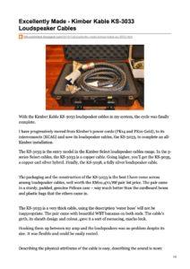 2010 - Hi-Fi Unlimited - Kimber Kable KS 3033